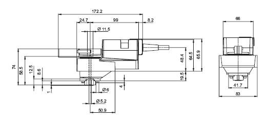 NRS230电动球阀执行器尺寸图