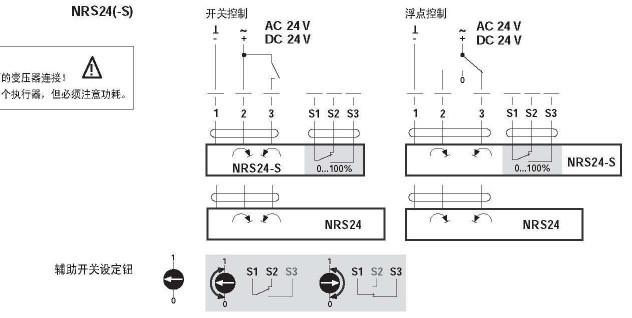 nrs24-s电动球阀执行器接线图