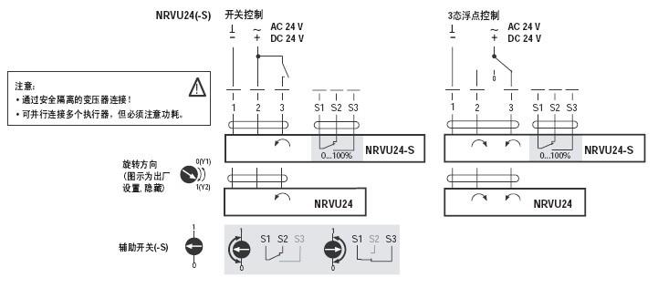 nrvu24电动蝶阀执行器接线图
