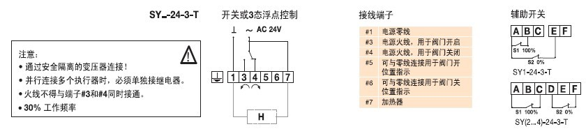 SY2-24-3-T蝶阀执行器接线图